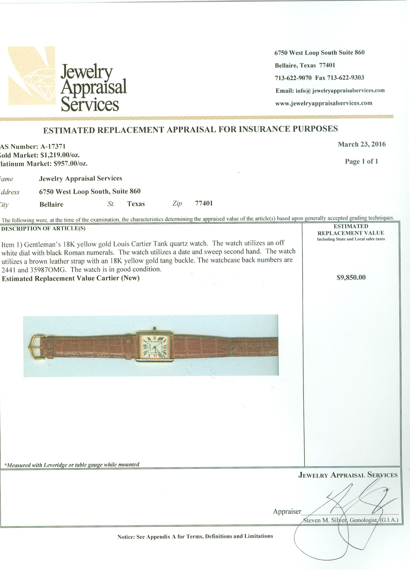 jewelry appraisal form template - watch report jewelry appraisal services